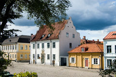 Sweden Square with houses. Sweden, Kalmar : A row of classified and protected historical houses in the center of the town in summer Stock Images