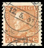 Sweden - stamp 1925: Color edition on Heads of state, shows King Gustav the Fifth vector illustration
