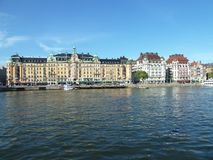 Sweden, Stockholm - thehistoric tenement houses  in Stockholm. Sweden, Stockholm - the panoramic view of the historic tenement houses in Stockholm royalty free stock images