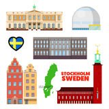 Sweden Stockholm Travel Set with Architecture and Flag Royalty Free Stock Photography