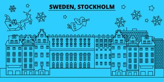 Sweden, Stockholm winter holidays skyline. Merry Christmas, Happy New Year decorated banner with Santa Claus.Sweden vector illustration
