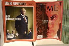 SWEDEN SVERIGE USA AND GERMAN MEDIA. MALM�/MALMO/SWEDEN/SVERIGE- USA media dn German media see Russian president Putin Time magazine and Deer Spiegel on sale Royalty Free Stock Image