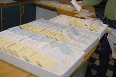 SWEDEN_SWEDEN VOTE ( SVERIGE ROSTER). SWEDEN / MALMOE . SVIGER ROSTER/ Sweden go to polls and cast their votes for Riksdag swedish General parliament elections Royalty Free Stock Photos