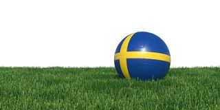 Sweden Swedish  flag soccer ball lying in grass world cup 2018. Isolated on white background. 3D Rendering, Illustration Royalty Free Stock Photography