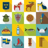 Sweden travel icons set, flat style. Sweden travel icons set. Flat illustration of 16 sweden travel icons for web Stock Illustration