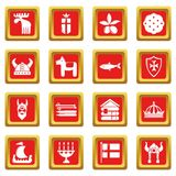 Sweden travel icons set red square vector. Sweden travel icons set vector red square isolated on white background Royalty Free Stock Photography