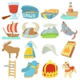 Sweden travel symbols icons set, cartoon style Royalty Free Stock Photos