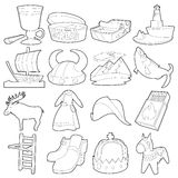 Sweden travel symbols icons set, outline style Royalty Free Stock Photo