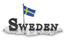 Sweden Tribute. 3D rendered scene with flag and logo Stock Images