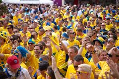 Sweden and Ukrainian fans arrived Stock Photo