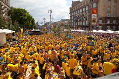 Sweden and Ukrainian fans arrived Royalty Free Stock Photos