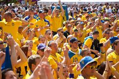 Sweden and Ukrainian fans arrived Royalty Free Stock Image