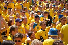 Sweden and Ukrainian fans arrived Stock Images