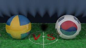 Sweden versus South Korea. 2018 FIFA World Cup.Original 3D image. June 18, Sweden vs South Korea 2018 FIFA World Cup.Original 3D image. Two balloons above a Stock Photos