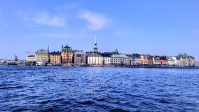 Sweden. View from the boat to the city of Stockholm Stock Image