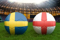 Sweden vs England football team ball on big stadium background. Sweden vs England Team competition concept flag on ball team tourn. Ament. Sport competition on Royalty Free Stock Image