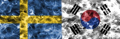 Sweden vs South Korea smoke flag, group F, Fifa football world c. Up 2018, Moscow, Russia Stock Photo