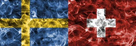 Sweden vs Switzerland smoke flag, quarter finals, football world cup 2018, Moscow, Russia.  stock photo