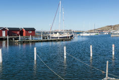 Sweden westcoast outside Gothenburg beutiful little harbour. And small boathouse Royalty Free Stock Photography