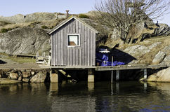 Sweden westcoast outside Gothenburg little house. For the local bath Royalty Free Stock Images