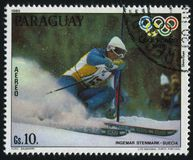 Sweden at Winter Olympics at Lake Placid. RUSSIA KALININGRAD, 19 APRIL 2017: stamp printed by Paraguay, shows Ingemar Stenmark, slalom, from Sweden at Winter Stock Photos