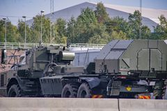 Swedesh defence symuluje rosyjskiego wojskowego ataka obraz stock