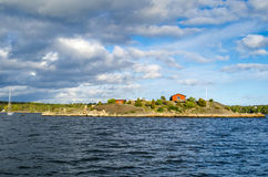 Swedish archipelago panorama in spring season Stock Photos