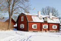 Swedish architecture at wintertime. Royalty Free Stock Photo