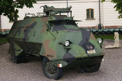 Swedish Armoured Personnel Carrier. A camouflaged Swedish Army Armoured Personnel Carrier on display stock photo