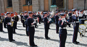 The Swedish army band on parade Stock Images