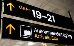 Swedish arrivals gate sign in airport. Swedish arrivals gate sign in Landvetter airport with English translation Stock Photos