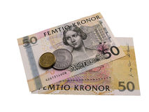 Swedish banknotes and coins. Royalty Free Stock Image