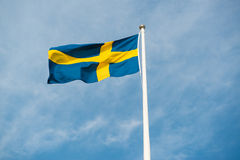 Swedish banner. Swedish flag towards a clear blue sky royalty free stock images