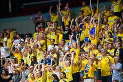 Swedish basketball fans, during game between Sweden and France stock image