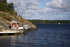 Swedish boat house Stock Images