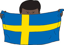 Swedish Boy Holding Flag Stock Image