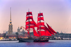 """Swedish brig """"Tre Krunur"""" on rehearsal for the annual celebration school graduates Scarlet Sails in St. Petersburg Royalty Free Stock Photography"""