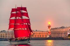 "Swedish brig ""Tre Krunur"" on rehearsal for the annual celebration school graduates Scarlet Sails in St. Petersburg Stock Photos"