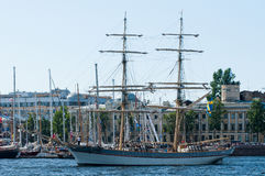 Swedish brig in a harbour. Swedish wooden brig Tre Kronor af Stockholm in Saint Petersburg, Russia Stock Photos