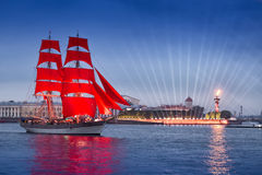 "Swedish brig ""Tre Krunur"" on rehearsal for the annual celebration school graduates Scarlet Sails in St. Petersburg Stock Photo"