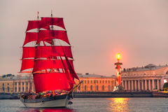 "Swedish brig ""Tre Krunur"" on rehearsal for the annual celebration school graduates Scarlet Sails in St. Petersburg Stock Photos"