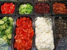 Swedish buffet vegetable ingredients in casseroles