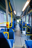 Swedish bus interior. Blue and yellow Swedish bus interior Stock Images