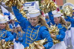 Swedish cheerleaders entertaining Royalty Free Stock Photography