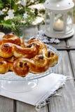 Swedish christmas. Traditional swedish buns Stock Photo