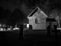 Swedish Church at Halloween, Kälvene 2. Swedish Church at Halloween, Kälvene black and white Royalty Free Stock Photos