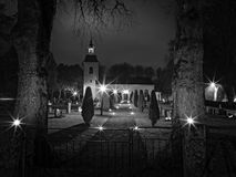 Swedish Church at Halloween 5. Swedish Church at Halloween Yllestorp Royalty Free Stock Image