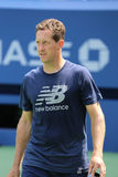 Swedish coach Jonas Bjorkman coaching Andy Murray for US Open 2015 Royalty Free Stock Photo