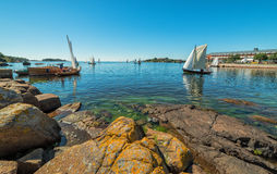 Swedish coast with old sailboats Stock Images