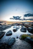 Swedish coast. Rocky coast in sweden on a summer evening Royalty Free Stock Photo